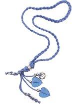Ketting - Gevlochten Touw - 40 cm - Blauw en Zilverkleurig - Musthaves