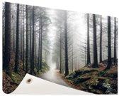 Mist in de bergen Tuinposter 60x40 cm - klein - Tuindoek / Buitencanvas / Schilderijen voor buiten (tuin decoratie)