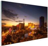 Las Vegas in avondlicht Glas 60x40 cm - Foto print op Glas (Plexiglas wanddecoratie)