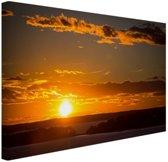 Zonsondergang met wolken Canvas 60x40 cm - Foto print op Canvas schilderij (Wanddecoratie)