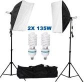 Studiolampen set 135W - 2x fotolamp fotografie softbox Inclusief opbergtas