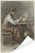 De schoenmaker - Schilderij van Jozef Israëls Poster 120x180 cm - Foto print op Poster (wanddecoratie woonkamer / slaapkamer) XXL / Groot formaat!