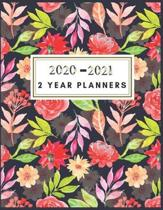 2020-2021 2 Year Planners: Two year planner 2020-2021 monthly 8.5 x 11 - Watercolor Floral - 2 Year Calendar Jan 2020-Dec 2021 Monthly - 24 Month