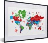 Foto in lijst - Kleurrijke wereldkaart op een witte achtergrond fotolijst zwart met witte passe-partout klein 40x30 cm - Poster in lijst (Wanddecoratie woonkamer / slaapkamer)