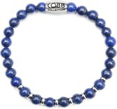 CO88 Collection Elemental 8CB 90028 Rekarmband met Stalen Element - Lapis Lazuli Natuursteen 6 mm - Maat L - Blauw