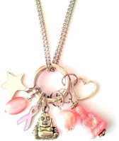 Lucky Pink Buddha Charm ketting voor Pink Ribbon