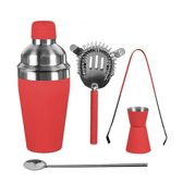 Luxe RVS Cocktail Set Rood 5-deligExcellent Houseware