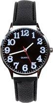Fako® - Horloge - Ø 40mm - Zilverkleurig- Zwart