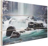 FotoCadeau.nl - Waterval op stenen Hout 80x60 cm - Foto print op Hout (Wanddecoratie)