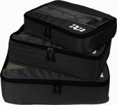 TravelMore Packing Cubes Set - Kleding Organizer voor Koffer en Backpack - Inpak Kubussen Tas - Travel Bag Opbergzakken - Bagage Compressiezakken - 3 Stuks - Zwart