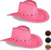 relaxdays 2x Cowboyhoed roze - western hoed - cowgirl hoed - cowboy accessoires - carnaval