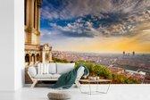Fotobehang vinyl - Uitzicht over Lyon vanaf de Basiliek van Onze lieve vrouw in Frankrijk breedte 450 cm x hoogte 300 cm - Foto print op behang (in 7 formaten beschikbaar)