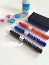 Whiteboard markerset 3 stiften 1 wisser 4 magneten 1 fles reiniging