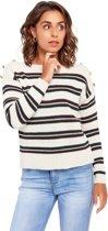 Gestreepte trui met knopen - Marine Blauw
