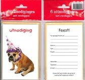12 Uitnodigingskaartjes met envelop - Hond muts - 9 x 13.5 cm