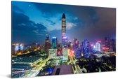 Schitterende kleurrijke lucht boven Shenzhen Aluminium 90x60 cm - Foto print op Aluminium (metaal wanddecoratie)