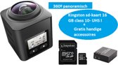 AT-360A 360 graden action camera Sony lens + WIFI Phone Remote + Kingston 16GB SD-kaart UHS-I