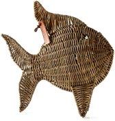 Riviera Maison Rustic Rattan Tropical Fish - 34x34 Cm - Bruin