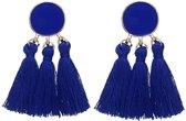 Fako Bijoux® - Oorbellen - Kwast - Cirkel Mini - Donkerblauw