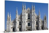 Strak heldere lucht boven de Kathedraal van Milaan Aluminium 90x60 cm - Foto print op Aluminium (metaal wanddecoratie)