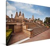 De Aziatische Swaminarayan-tempel in India Canvas 140x90 cm - Foto print op Canvas schilderij (Wanddecoratie woonkamer / slaapkamer)