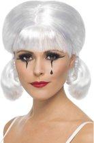 Clown Mime pruik - Wit haar - Pierrot verkleedpruik