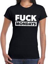 FUCK mondays tekst t-shirt zwart dames - dames shirt Fuck mondays XS