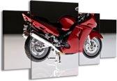 Canvas schilderij Motor   Rood, Zwart, Wit   160x90cm 4Luik