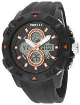 Nowley 8-6218-0-1 analoog/ digitaal horloge 50 mm 100 meter zwart/ oranje