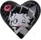 magneet hart Betty Boop 4 cm glas zwart/wit