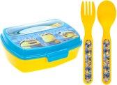 Stor Broodtrommel Met Bestek Minions Blauw/geel 3-delig
