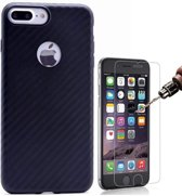 Teleplus iPhone 7 3D Fiber Carbon Silicone Case Black + Glass Screen Protector hoesje
