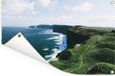De Ierse kustlijn van de Kliffen van Moher Tuinposter 60x40 cm - klein - Tuindoek / Buitencanvas / Schilderijen voor buiten (tuin decoratie)