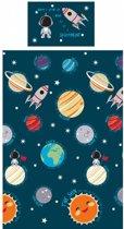 2 persoons kinderdekbedovertrek ruimtereis langs de planeten