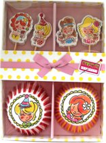Blond Amsterdam Set Cupcake Prikkers en Bakjes - 24- delig
