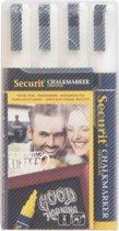 Securit krijtstiften medium - set van 4 - wit