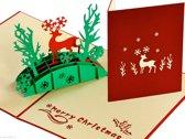 Popcards popupkaarten - Kerstkaart kerst hert in het bos pop-up kaart