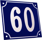 Emaille huisnummer blauw/wit groot nr. 60 18x15cm