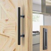 Stalen handvat set voor schuifdeur systeem, schuifdeur kom en handgreep  Mat zwart Smeedijzereffect. Deurgreep voor beide kanten van de houten deur