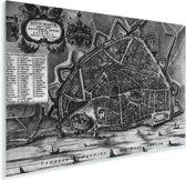 De historische stadskaart van Nijmegen in het zwart wit Plexiglas - Plattegrond 180x120 cm - Foto print op Glas (Plexiglas wanddecoratie) XXL / Groot formaat!