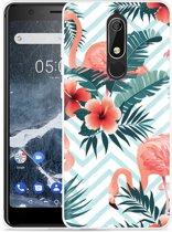 Nokia 5.1 Hoesje Flamingo Flowers