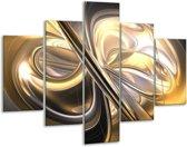 Glasschilderij Abstract | Goud, Zilver, Geel | 100x70cm 5Luik | Foto print op Glas |  F000306