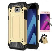 Teleplus Samsung Galaxy A5 2017 Double Layer Tank Cover Case Gold + Glass Screen Protector hoesje