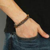 Victorious Set Zilverkleurig Staal Bruin Tijgeroog Natuurstenen Kralenarmband – Heren Armband – 17cm