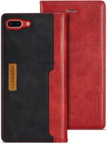 Leren Wallet Case - iPhone 7/8 Plus - Rood/Zwart. - LC.IMEEKE