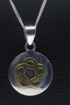 Zilveren Keltische knoop rond bicolour ketting hanger