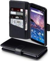 Qubits - luxe echt lederen wallet hoes - Nokia 7 Plus - zwart
