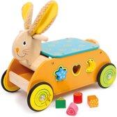Houten Konijn Ride-on met vormenstoof - rubberen bandjes - Houten speelgoed vanaf 1 jaar