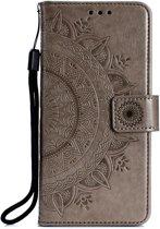 Shop4 - Samsung Galaxy A70 Hoesje - Wallet Case Mandala Patroon Grijs