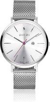Zinzi Horloge Retro ZIW402M - Zilverkleurig - Ø38mm + gratis Zinzi armbandje